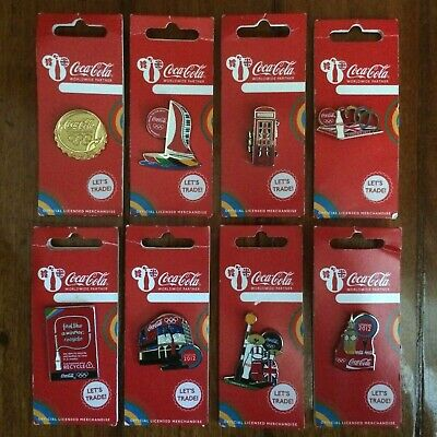 8 London 2012 Olympic Games Coca Cola Collector Pins
