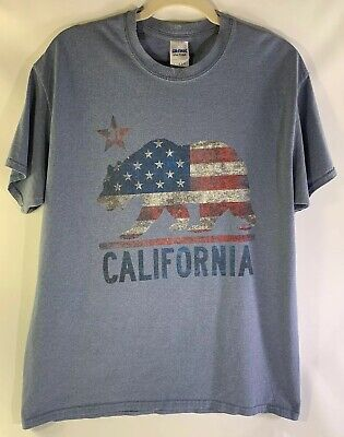 California Bear US Flag T Shirt Star 31 Size Large Color Blue 31st State