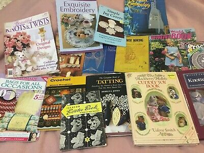 Bulk Lot Handicraft Books Tatting,Crochet,Embroidery,Soft Toys