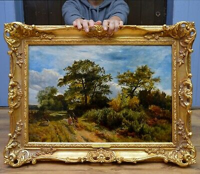 Fine Original Antique 19thC Oil Painting English Country Landscape by S.R. Percy