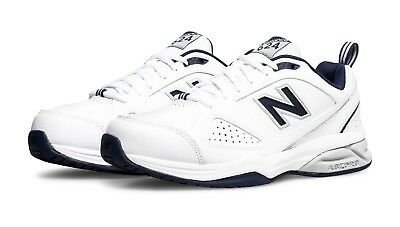 GENUINE New Balance 624 Mens Cross Training Shoes White/Navy 2E WIDE