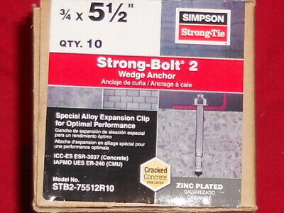simpson strong-tie 3/4 x 5-1/2 concrete wedge anchors, STB2-75512R10 10 COUNT