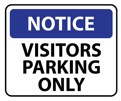 Notice Visitors Parking Only Sign  --  Various Sizes Metal Sign