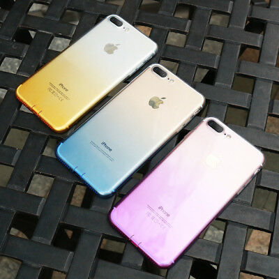 For iPhone Shockproof Case Transparent Silicone Gradient Airbag TPU Cover
