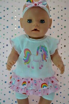"""PlaynWear Dolls Clothes To Fit 17"""" Baby Born SKIRT/BUILT-IN TIGHTS~TOP~HEADBAND"""