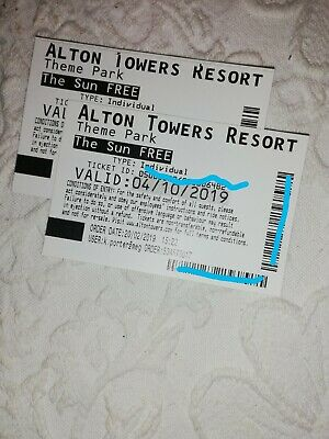 ALTON TOWERS TICKETS -  04/10/2019  x 2 tickets Friday