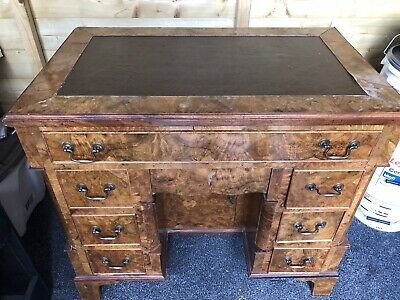 Antique Burr Walnut  Crossbanded Writing Desk
