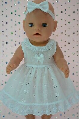 """Play n Wear Dolls Clothes For 17"""" Baby Born BRODERIE ANGLAISE DRESS~HEADBAND"""
