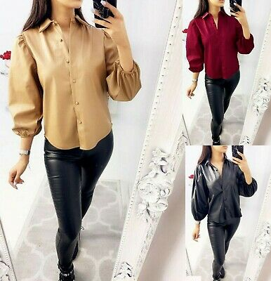 Womens Faux Leather Shirt Ladies Bell Cuff Sleeve Button Up Collared Blouse Top