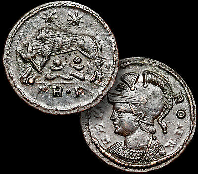 SHE-WOLF Suckles ROMULUS & REMUS Ancient Roman Coin, Constantine I The Great+COA