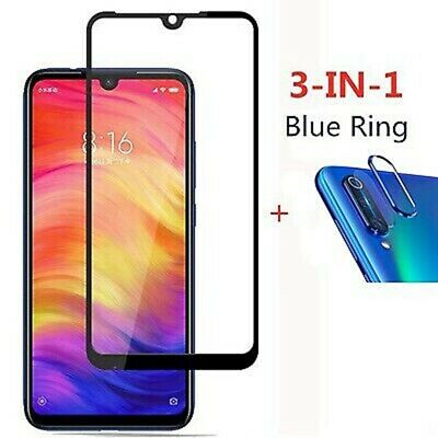 For Xiaomi Redmi Note 7 Tempered Glass Protector+Camera Lens Film+Metal Ring yu