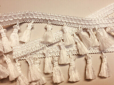 Fringe Tassel Trim Bobble Ribbon Tape with Tassels curtains PEARL OFF-WHITE