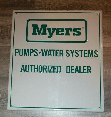 """Myers Pumps  AUTHORIZED DEALERS Tin Sign  18"""" x 20"""""""