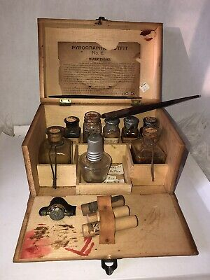 Vintage   pyrographic Tool Box For Wood Paint 9lx 6w/6 Tall