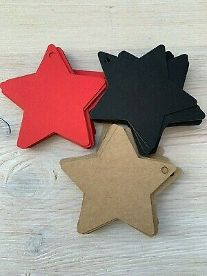 10/25/50/100 Paper tags,6cm stars, natural,red or black, 400gsm, gift tag,labels
