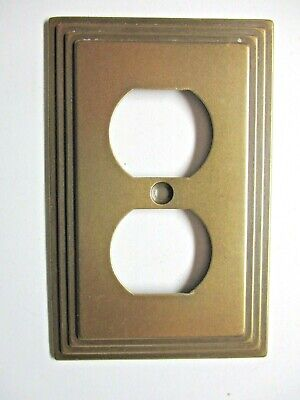 Modern AmerTac Stair Stepped Outlet Wall Cover Plate Dark Brass 84D