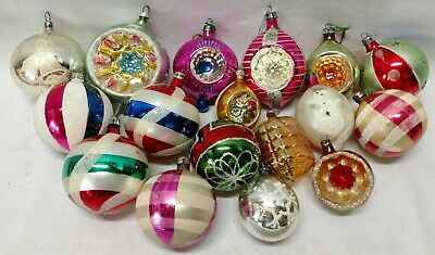 Vintage Poland Mercury Glass Christmas Ornaments Indent Glitter Space Lot of 17