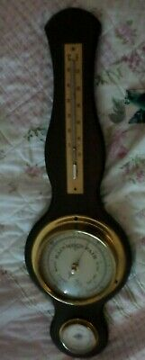 Old rare Wooden GB banjo style Hygrometer Barometer & Thermometer 44 cm long