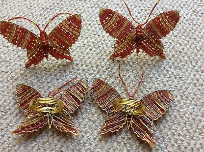 Napkin Rings - Set Of 4 - Beaded Butterflies - Red - Good Condition
