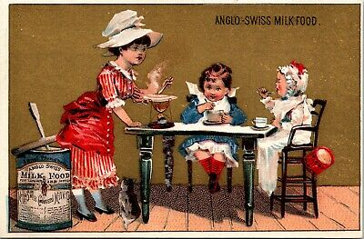 ANGLO-SWISS CONDENSED MILK Victorian Trade Card -  Infants - Invalids - Milkmaid