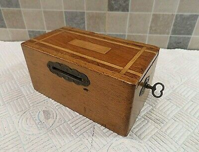 Victorian Inlaid Sycamore Single Slot Money Box With Sliding Lid - Lock & Key