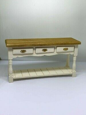 1:12th dolls house miniature server / sideboard furniture cream painted stained