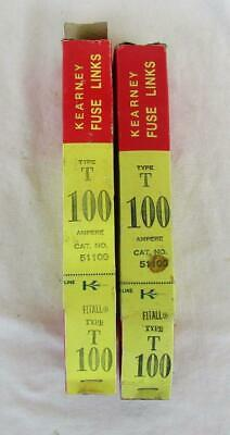 2 Kearney Type T 100 Ampere No. 51100 Fuse Links New Old Stock In Box