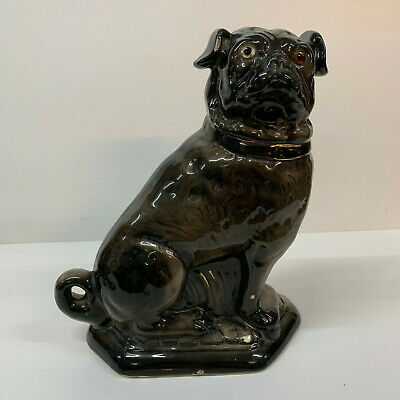 Antique Victorian Staffordshire Large Pug Mantle Dog  19th Century Black Boness