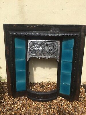 Beautiful Original Antique Victorian Cast Iron Fireplace Insert With Inset Tiles