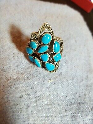 STYLISH  MARCASITE TURQUOISE 925 STERLING SILVER RING SIZE 5-10