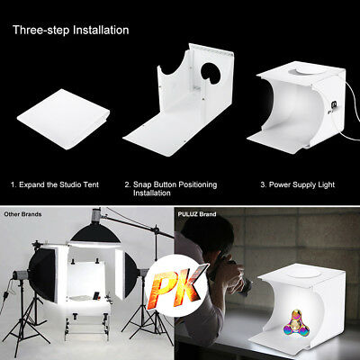 Double LED Light Room Photo Studio Photography Lighting Tent Backdrop Cube