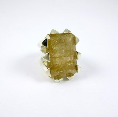 Estate Sterling Silver Rutilated Quartz Fancy Lds Ring Sz6.5 Fine Jewelry