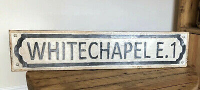White chapel metal/ wooden vintage old rustic effect wall sign plaque handmade
