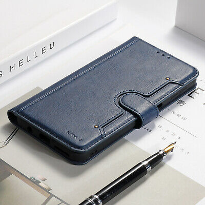 For Samsung Galaxy Note 10 Plus Blue Flip Leather Card Holder Wallet Case Cover