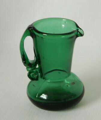 "Vintage Blown Art Glass Small Pitcher Creamer Emerald Green 4.5"" H"