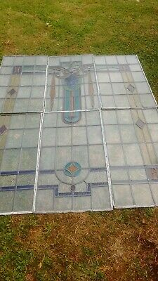 """ANTIQUE LEADED LARGE STAINED GLASS WINDOW approx 67"""" high and 53.5"""" wide"""