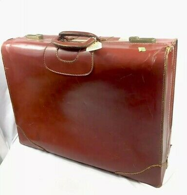 """Vintage Large Leather Suitcase Hard Luggage W/ Tags Hangers 24"""" Tommy Traveler"""