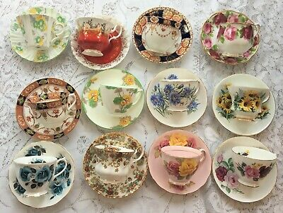 Lot 12 Bone China Tea Cups/Matching Saucers/great for tea party FREE SHIPPING B