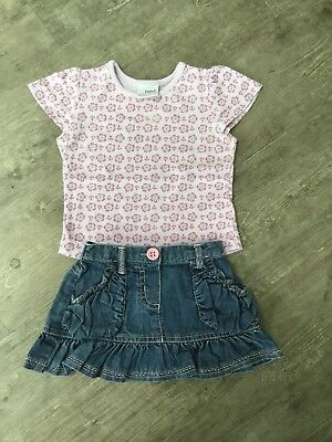 Baby Girls Next 6-9 Months Blue Denim Skirt And Lilac T-Shirt Set Cotton Used