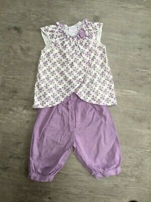 Baby Girls Next Age 12-18 Months Lilac Trousers Vest Outfit/Set Summer
