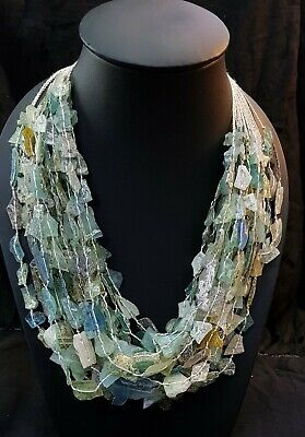 Beautiful Ancient Old Roman Glass 20 Sterings Necklace With Excellent Patina