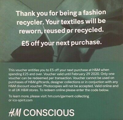 H&M £5 off £25 spend Online/In store vouchers Expires Feb 2020 NEW