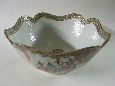 """Antique Chinese Canton Rose Famille Export porcelain 10"""" bowl"""
