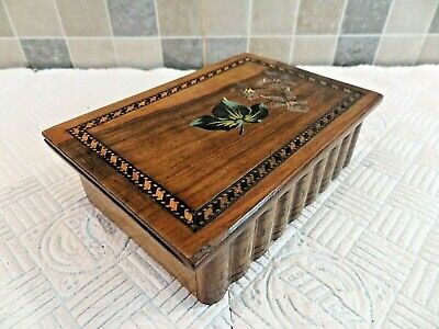 ANTIQUE 19thC SORRENTO WARE INLAID AND HAND PAINTED OLIVEWOOD PUZZLE OPENING BOX