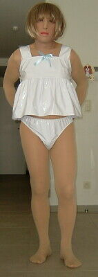 adult baby cute short dress with matching slip - white  glossy soft large
