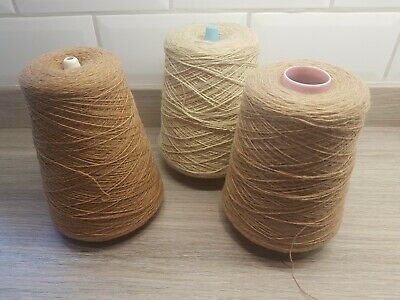 Three Cones Of Beige/ Brown Yarn For Knitting and Crafting Approx 1.3kg