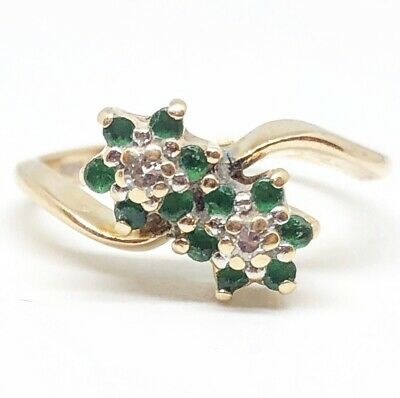 14k Yellow Gold Vintage Emerald & Diamond Flower Ring Size 4