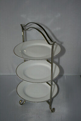 Vintage Silver Plate Art Deco Three Tier Cake Stand