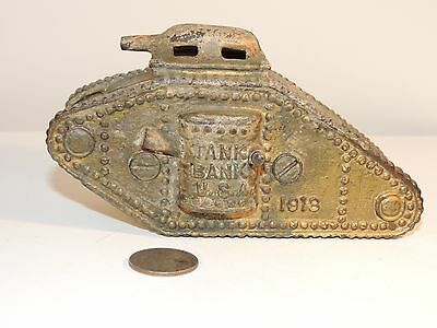 Tank Bank U.S.A.1918 Cast Iron Bank 3 inches tall (8062)