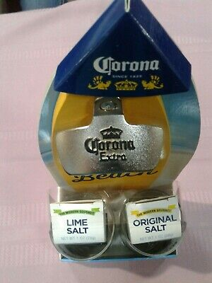 Wall Mounted Corona Extra Surfboard Bottle Opener Gift Set + 2 Glasses & Salt
